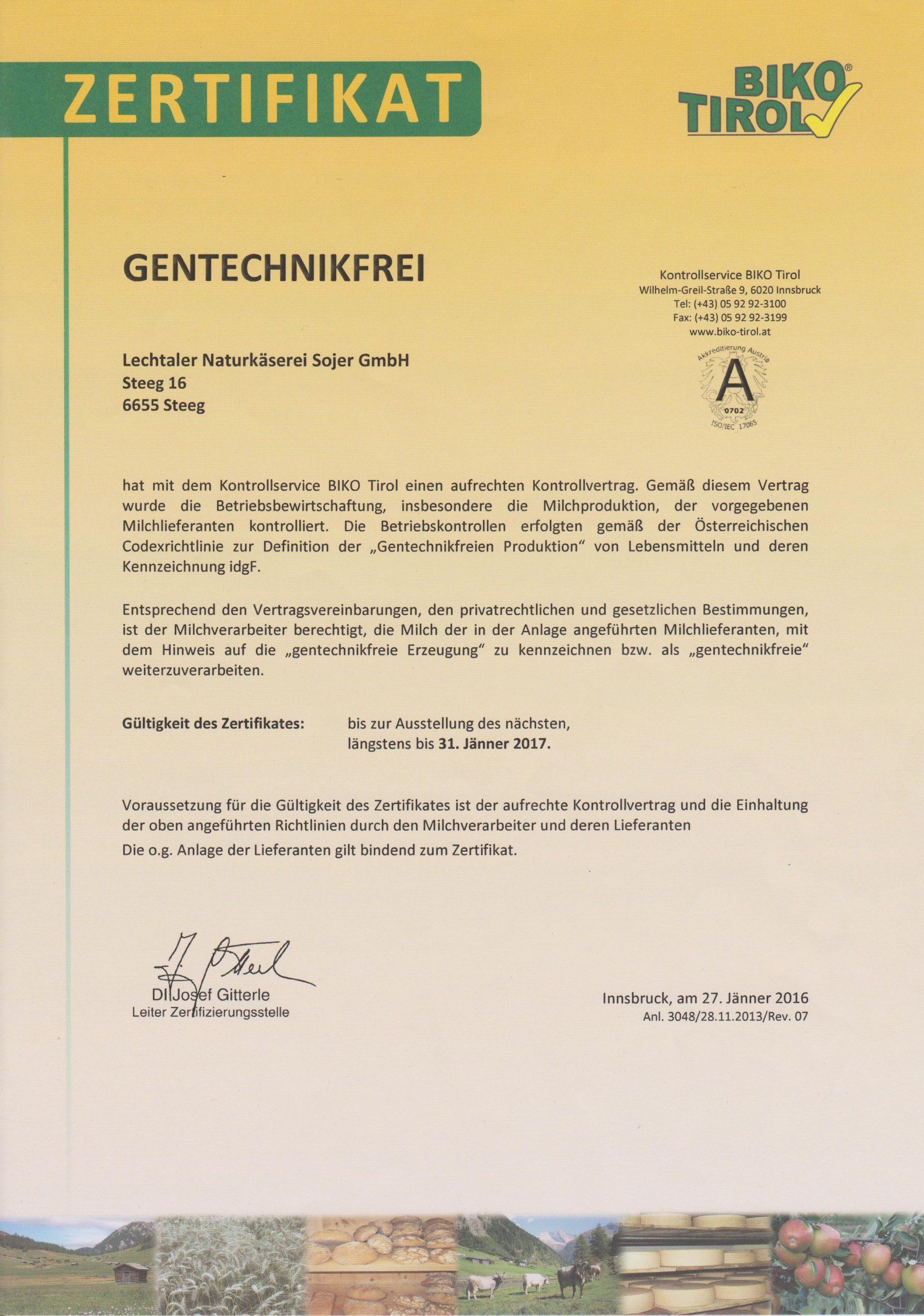 Gentechnikfrei Zertifikat